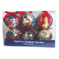 6 Christmas Nativity Baubles