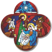 Nativity Cross Lapel Badge