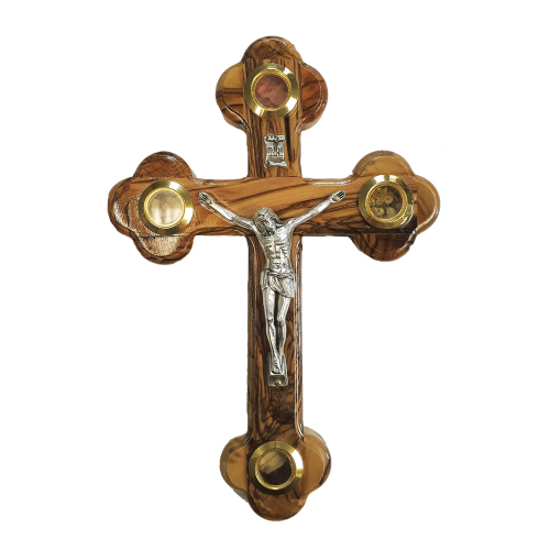 Olivewood Wall/ Standcross with Four Glass Lenses
