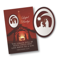 Silver Nickel & Enamel Oval Nativity Lapel Badge
