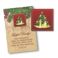 Red Nativity Lapel Badge