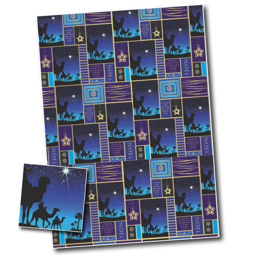 Christmas Wrapping Paper, Three Wise Men (Blue)